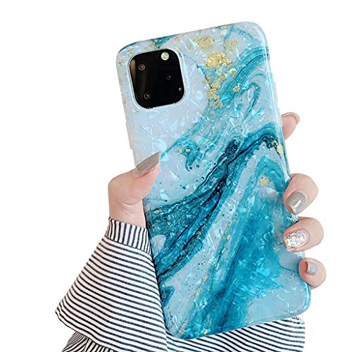 Bakicey Coque pour iPhone 11 Pro Case Creative Motif 3D Coque TPU Silicone Housse Bumper Chic Bling Coeur Anti Rayure Coque pour iPhone 11 Pro Marbre Doré