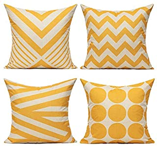Best All Smiles Yellow Outdoor Throw Pillow Cases Decorative Cushion Covers Pillowcases 18 x 18 Set of 4 Accent Square Home Classroom Decor for Couch Sofa Patio,Kids Geometric Modern Decorations Review