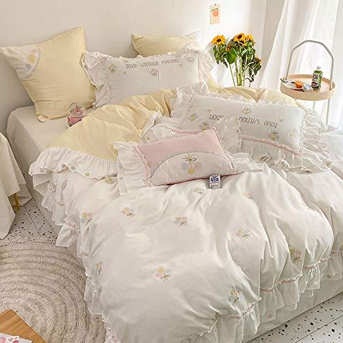 PHGo Baumwollbettbezug Gewaschene Baumwolle Blumenstickerei Vierteiliges Set Reines Baumwollmädchen Herz Lotusblatt Spitze Bettbezug Princess Style Bettwäsche