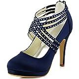ElegantPark EP11085-PF Mujer Stiletto Tacón Plataforma Rhinestones Zipper Satén Fiesta Zapatos De Boda Azul Marino 39