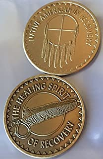 Great Spirit Prayer Set of 2 Native American In Recovery Healing Spirit Bronze Sobriety Medallion Chip Medallions Chips