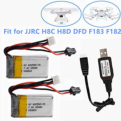 7.4V 650mAh lipo Battery Rechargeable for JJRC H8C H8D DFD F183 F182 RC Drone Quadcopter Spare Part 2 Pack with USB Charger