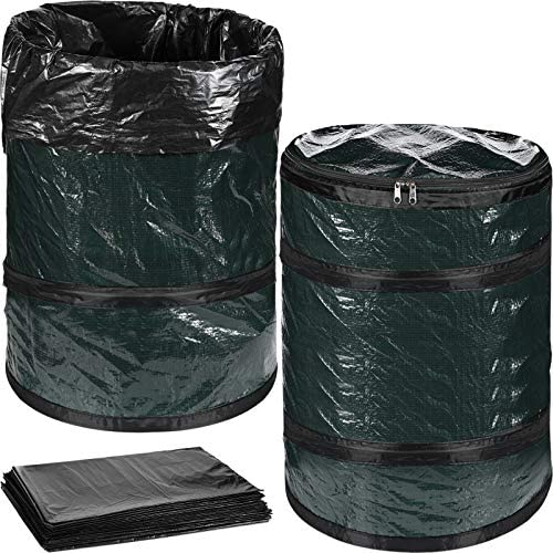 2 Pieces Collapsible Campsite Trash Can D16 H20 Inches Portable Garbage Bin with 20 Black Trash product image