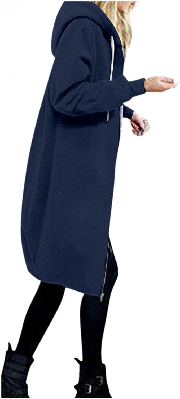 Toeava Women's Casual Zip up Hoodies Long Tunic Sweatshirts Jackets Coat Fashion Plus Size Hoodie with Pockets S-3XL