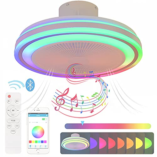 Plafon LED Lampara Ventilador Techo con Luz y Mando a Distancia Silencioso Ventiladores de Techo Modernos con Musica Altavoz Bluetooth RGB Colores Plafon Techo Regulable Smart Iluminación Luce