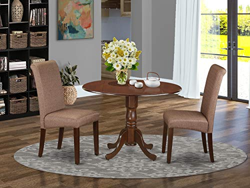 East West Furniture DLBA3-MAH-18 Wood Set 3 Pc-Brown Linen Fabric Chairs-Mahogany Finish Hardwood two 9-inch drop leaves Pedestal Dining Table...