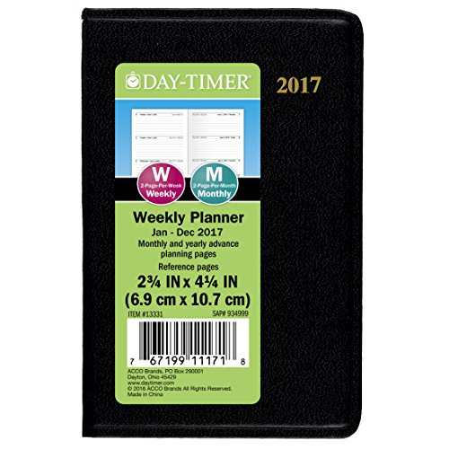 "Day-Timer Mini Weekly Planner / Appointment Book 2017, Pocket Size, 2-3/4 x 4-1/4"", Black (13331)"