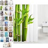 Sanilo Duschvorhang, viele schöne Duschvorhänge zur Auswahl, hochwertige Qualität, inkl. 12 Ringe, wasserdicht, Anti-Schimmel-Effekt (Bambus, 180 x 180 cm)
