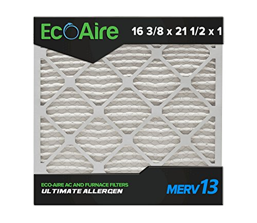 Eco-Aire 16 3/8x21 1/2x1 MERV 13, Pleated Air Filter, 16 3/8 x 21 1/2 x 3/4, Box of 6, Made in The USA