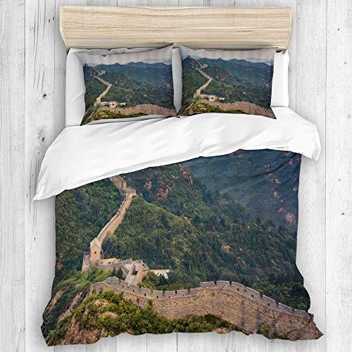 ALLMILL Funda Nórdica De Microfibra,China Gran Muralla Ruinas Paisaje Tema Montaña Gran Muralla,Juego De Ropa De Cama De 3 Piezas (1 Funda De Edredón 240 x 260cm + 2 Fundas De Almohada 50 * 80cm)
