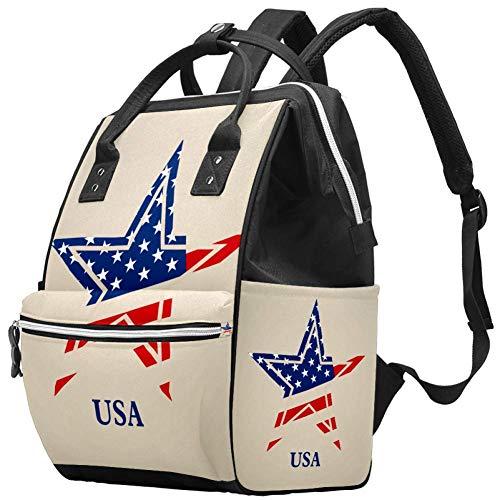 Grand sac à langer multifonction pour bébé, sac à dos, sac à dos, sac à dos, sac à dos de voyage pour maman et papa, logo USA Stars