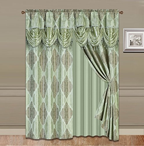 Elegant Home Window Olive Sage Green Curtain Drapes All-in-One Set with Attached Valance & Sheer Backing & Tassels for Living Room, Bedroom, Dining Room & Sliding Doors - JKA 1630 (Sage)