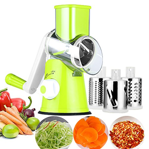Round Drum Slicer and Grater Vegetable Cheese Cutter Slicer Shredder Grinder with 3 Stainless Steel Rotary Blades and Strong Suction Cup