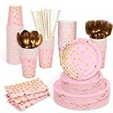 Decorlife Pink Party Plates, Pink and Gold Party Supplies, 400pcs Serves 50, Gold and Pink Paper Plates, Party Napkins, Cups, Straws, Forks, Spoons Included, for Girls Baby Shower, Birthday