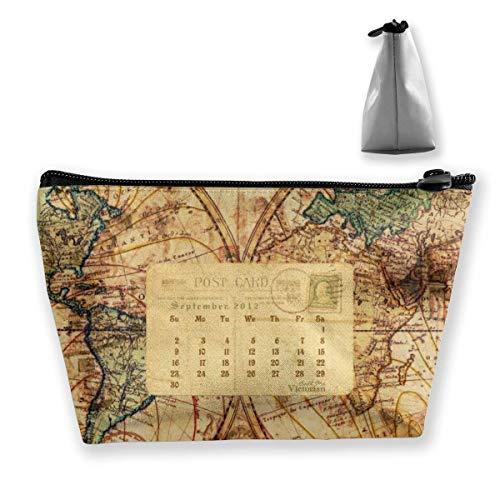 Kartenkalender Frauen Make-up-Taschen Multifunktions-Toilettenartikel-Organizer-Taschen, tragbarer Beutel Travel Wash Aufbewahrungskapazität mit Reißverschluss (trapezförmig)
