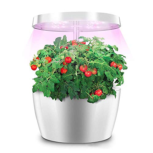 Indoor Smart Hydroponics Growing Lamp, Herb Hydroponics Growing System, Automatically Adjust Brightness Desk Lamp Smart Garden Kit with Gardening Pots for Plant