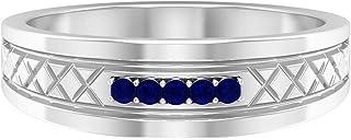Anillo de compromiso de zafiro azul de corte redondo de 1,5 mm, 5 piedras de corte redondo, anillo de boda vintage, anillo...
