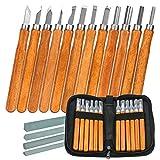 LICQIC 12 Pcs Kit di strumenti per intaglio del legno, Sgorbie per Legno con Whetstone e Borsa Portaoggetti, Scalpello set, Coltello da Intaglio a Mano per Manico Scultura Intaglio Cera