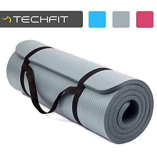 TechFit Fitness Yoga Tappetino, 15mm Extra Spessore, 180 x 60 cm, Ideale per Palestra, Esercizi del Pavimento, Campeggio, Stretching, ABS, Pilates (Grigio)