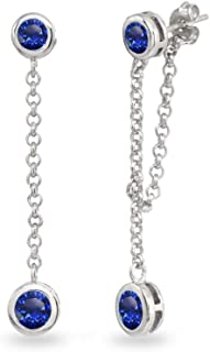 Sterling Silver Genuine, Created or Simulated Gemstone Round Two Stone Bezel-Set Chain Drop Dangle Earrings for Women