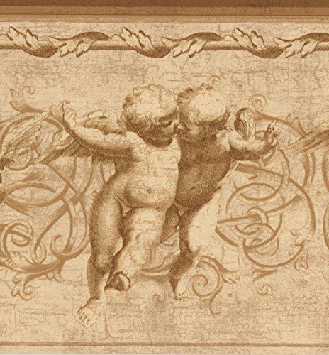 Norwall Vintage geflügelte Amoretten Damast Rebe Scroll Beige Tapete antiken Bordürenmuster, Roll-15' x 8,25 ''