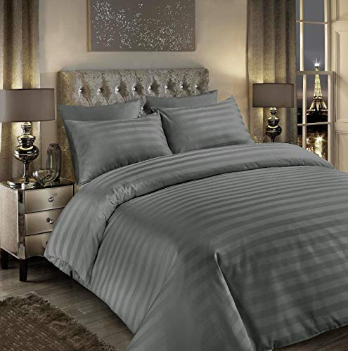 Seventh Linen Luxury 400tc Satin Stripe Duvet Cover Set Original 400 Thread Count 100% Egyptian Cotton Hotel Quality Bedding Bed Sets King Size Quilt Covers (Stripe Grey, King)