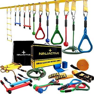 NINJACTIVE Ninja Line Warrior Obstacle Course for Kids - Weatherproof 50' Ninja Slackline Kit with 10 Obstacles Like Ladder, Spinning Wheel - Ninja Course for Kids with Slack Line for Backyard from NINJACTIVE