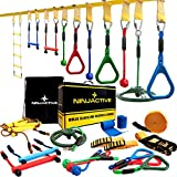 NINJACTIVE Ninja Slackline Warrior Obstacle Course for Kids - Weatherproof 50' Ninja Course with 10 Obstacles Like Ladder, Spinning Wheel - Durable Outdoor Course with Slack Line for Backyard