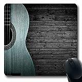 Luancrop Alfombrillas para computadoras Acorde Marrón Parte del país Guitarra acústica Azul En Gris Música Bluegrass Western Black Diseño de Concierto Antideslizante Oblong Gaming Mouse Pad