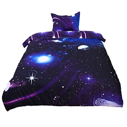 sourcingmap 2-piece Galaxies Purple Comforter Duvet Cover Sets - 3D Printed Space Themed - All-season Reversible Design - Includes 1 Duvet Cover, 1 Pillow Sham