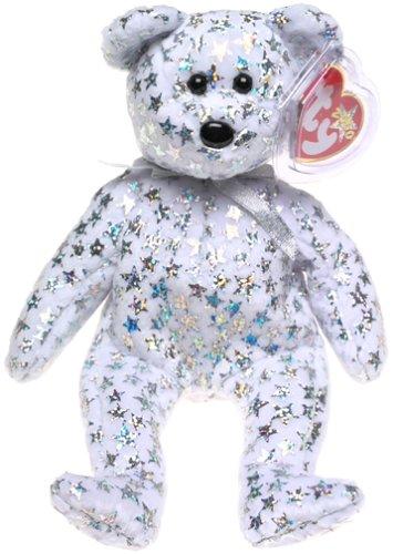Beanie Babie - Ty - Plüschfigur - The Beginning 2000 - Bär / Teddy in weiß mit silbernen Sternen - ca. 21 cm