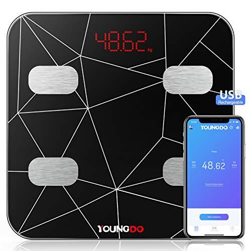YOUNGDO Wiederaufladbare Körperfettwaage Testsieger, Smart Bluetooth Personenwaage mit APP für Fitness&Diät, Ganzkörperanalyse Körperwaage für Körperfett, BMI, Gewicht, Protein, BMR, Wasser, usw