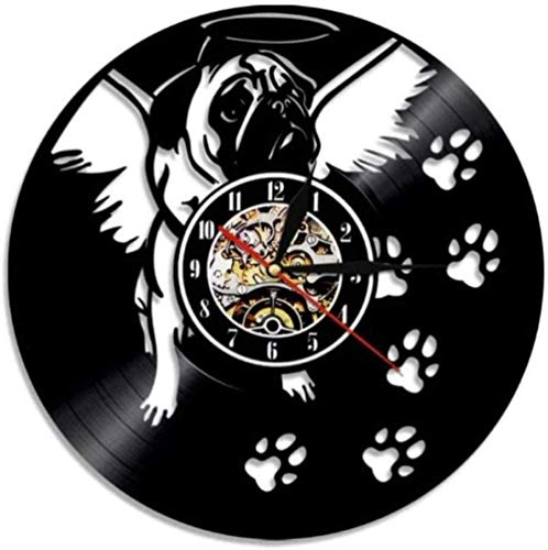 BBNNN Vinyl wall clock cute and friendly pug dog vinyl clock home art puppy pet living room wall decoration gifts for dog lovers
