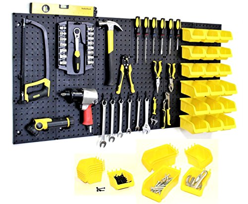 WallPeg Pegboard Kit - Peg Board Panels Locking Peg Hooks Set – Workbench Organizer Tool Storage… Size & Bins Included (24