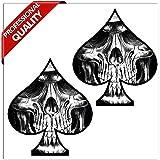 SkinoEu® 2 Stück Vinyl Aufkleber Autoaufkleber Spielkarten Pik Skull Schädel Totenkopf Funny Stickers Auto Moto Motorrad Fahrrad Helm Fenster Tür Tuning B 61