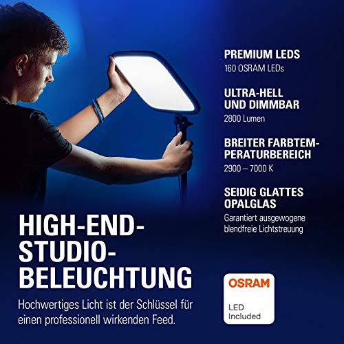 Elgato Key Light, Professional Studio LED Panel with 2800 lumens, Colour Adjustable, App-Enabled, for PC and Mac, Metal Desk Mount