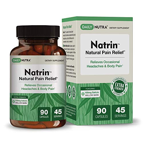Natrin Natural Pain Relief by DailyNutra - Relieves Headaches and Pain in The Back, Neck, Knees, and Joints | Featuring High Strength White Willow Bark with 150mg of Salicin (90 Capsules)