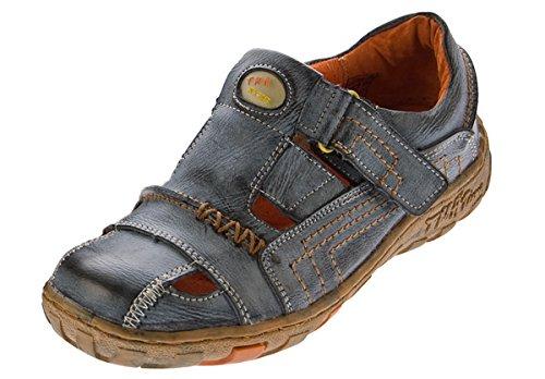 TMA Sandaletten Leder Schuhe Damen Klettverschluss Halbschuhe Schwarz im Used Look Gr. 37