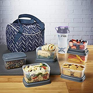 Fit & Fresh Jaxx FitPak Meal Management Set, Top-Loading, Mini-Tote Bag with Portion Control Container Set, Ice Pack and 28-oz. Jaxx Shaker Bottle, Lilac Chevron
