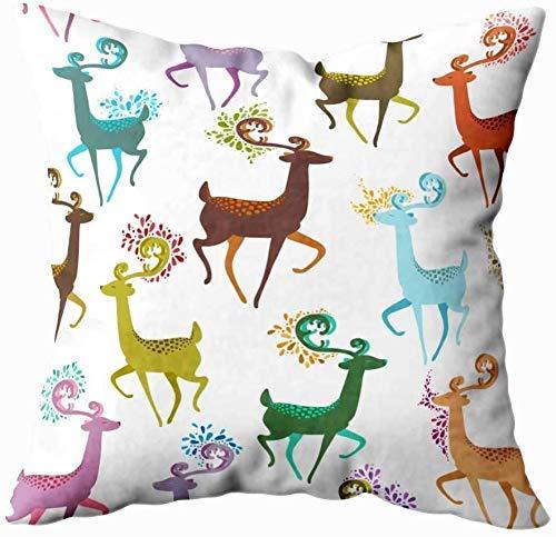 18' Funda Almohada Cuadrado Throw Pillow Case Poliéster Hermoso Ciervo Flores Color Abstractas Manchas Creativos Sofá Fundas Cojines Casa Oficina Coche