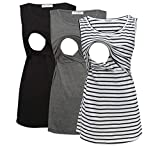 Bearsland Women's 3 Pack Sleeveless Maternity Nursing Tank Tops Breastfeeding Shirts,Black+Gray+witstrp,M