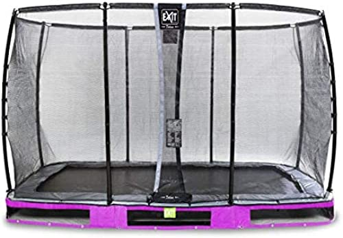 EXIT Trampoline enterré Elegant Premium de 244x427cm avec Filet de sécurité Deluxe - Violet