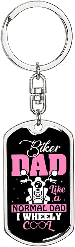 Like Super popular specialty store a Normal Dad Biker Charlotte Mall Keychain Stainless or Steel Dog 18k Gold