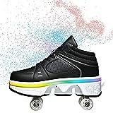 TAOXUE Deformation Roller Shoes Niñas Niños LED Light Up Doble Fila Parkour Patines al aire libre Adulto Niños Casual Deportes Zapatos
