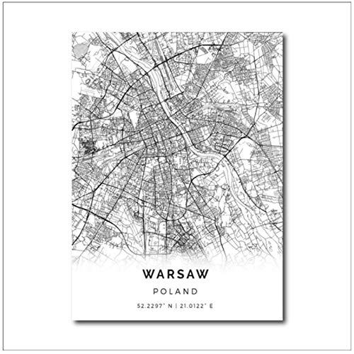 Mural polska warszawa mapa miasta obraz na płótnie plakaty i druki obrazy na ścianę dla polaków salon dekoracji wnętrz-50X70Cmx1 bez ramki