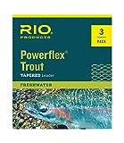RIO Powerflex Angelschnur zum Fliegenfischen, 2,7 m, 1 x Vorfach, 3 Stck, transparent