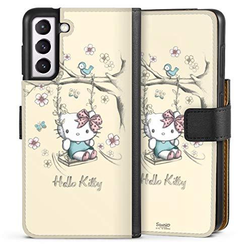 DeinDesign Klapphülle kompatibel mit Samsung Galaxy S21 5G Handyhülle aus Leder schwarz Flip Hülle Hello Kitty Fanartikel Hanami