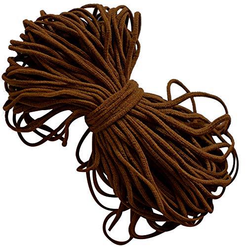 Elastic Cord Earloop for face mask - Elastic Loop Ear Rope Stretch Flat String Craft Project Bracelet String Trim for Crafting,Hanging, Mask Making (Brown, 20 Yard)