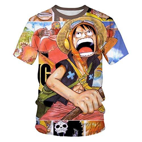 Camisetas,One Piece Luffy Anime Hombres Manga Corta Streetwear Casual Tallas Grandes Parejas Camisetas Sueltas Neutrales