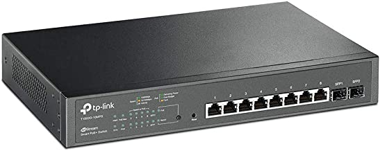 TP-LINK T1500G-10MPS Jetstream 8-Port Gigabit PoE+ Smart Switch with 2 SFP Slots, Sufficient Power Supply of 116W, 802.3af/at, 30W per Port, VLAN, QoS, IGMP snooping, Link Aggregation, ACL